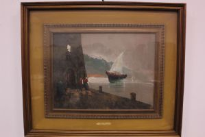Oil painting on canvas with frame signed by Aldo Pironti second half '900 painting
