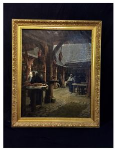 Escena del carnicero, escuela francesa del siglo XIX.