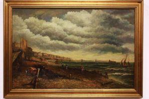 Dipinto antico del '800 olio su tela con cornice, paesaggio / painting / antique XIX sec
