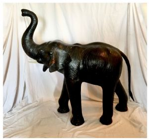 Rare and High Leather Elephant, 20th Century