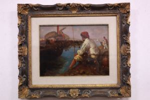 """Beautiful painting of """"Ciro Morrone"""" signed / oil on canvas / old / painting."""