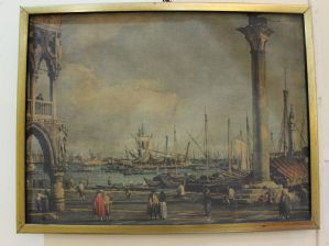 Print depicting a view of Venice