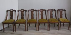 Group of six gondola chairs, Carlo X style in walnut - restoration. first 900