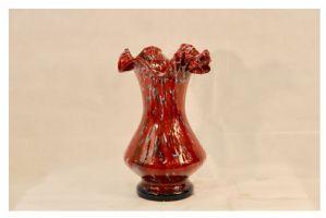 Vaso de vidro vermelho vintage, século XX