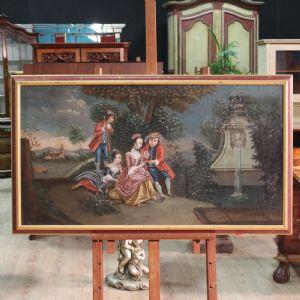 Antico dipinto veneziano raffigurante paesaggio romantico con figure dei primi del XIX secolo