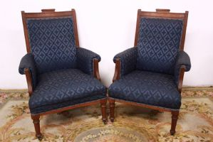 Beautiful pair of armchairs / chairs in embroidered Louis XV style old chair