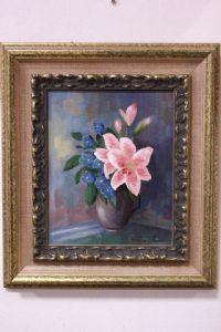 Beautiful painting / painting oil on canvas 1997 with frame vase of flowers painting oil