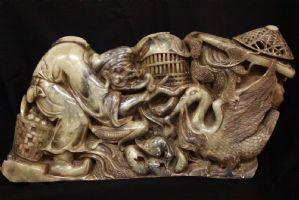 Espectacular escultura de jade oriental del 800 / XIX seg / jade / escultura