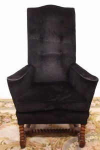 Armchair black fabric chair with legs worked in twists 80s chair