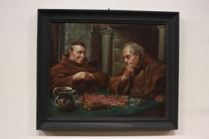 Oil painting on canvas depicting a chess game between friars painting oil