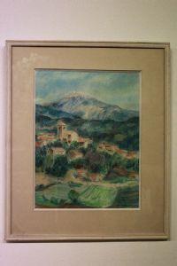Quadro matita acquarellata con vetro e cornice raffigurante paesaggio watercolor