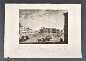 "Bennassuti Giuseppe ""View Piazza d'armi of Verona called the Bra and the amphitheater called the Arena taken at the gates of the main entrance of the Philharmonic Theater"