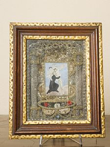Reliquary with painted miniature on parchment