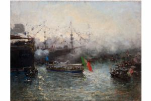 Pompeo Mariani, The Royal launches the Columbus Celebrations, 1892