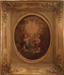 Oil on board ('800) depicting putti, framed original