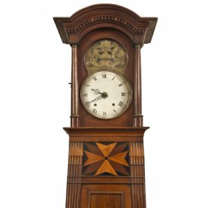 Pendulum clock in walnut with inlaid Maltese cross.