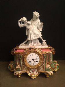 HARD PORCELAIN WATCH WITH GALANTE SCENE IN BISQUIT