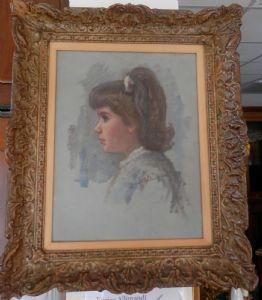 dipinto olio su tela bimba con coda di cavallo
