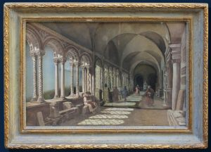 XIX century, Perspective view of the cloister, Mixed media on paper, 23.5 x 34.5 cm; with frame 32x43 cm