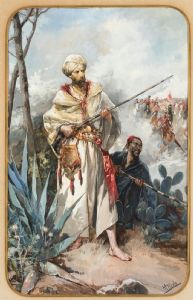 Beautiful 19th c. orientalist watercolor by  MANUEL PICOLO