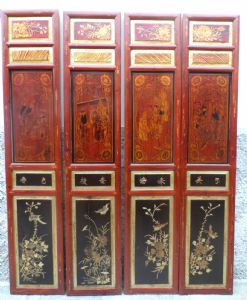 8 series of eight Chinese carved panels, gilt and paintings