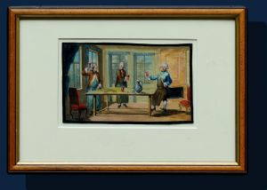 Nineteenth century, convivial scene, watercolor on paper, 10.5 x 17.5 cm, with frame 22.5 x 32.5 cm