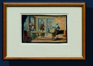 século XIX, cena de convívio, aguarela sobre papel, 10,5 x 17,5 cm, com moldura de 22,5 x 32,5 cm