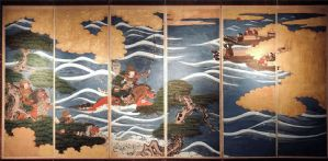 Battaglia di Kawanakajima - Paraventi Giapponesi - Japanese  Folding Screen