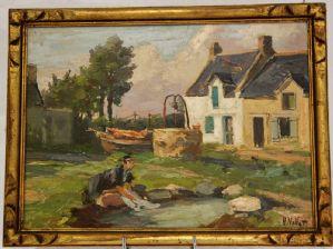Óleo sobre painel assinado Henry (ou Henri) Vollet (1861-1945), final do século XIX / início do século XX
