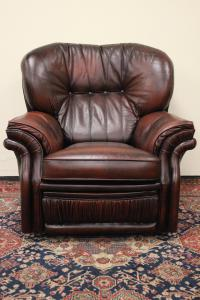 Poltrona Chesterfield / Chester recliner bergere in pelle marrone originale inglese