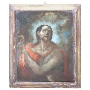 古代油画画布施洗者圣约翰的第一个画布二十八世纪当代画框价格可议