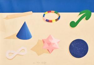 Serigrafía y collage sobre papel de Lucio Del Pezzo