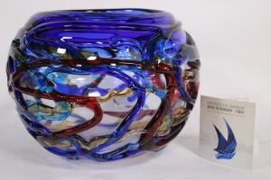 Murano important Murano glass sphere vase (Italy) 6.5 Kg, signed Enrico Cammozzo with certificate and stamp