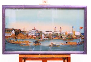 Oriental landscape painting on glass