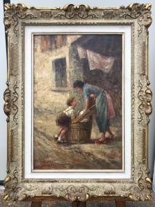 """布面油画""""儿童游戏"""",签名:乔瓦尼·邦法蒂(Giovanni Bonfatti),米兰"""