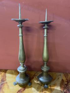 Paar Kerzenhalter aus vergoldeter Bronze