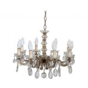 Lampadario antico Maria Teresa in cristallo otto luci Secolo XIX