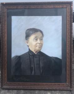 绘画,画在纸上的蛋彩画,描绘一个女性形象,签名:V.Perazzo 1902。