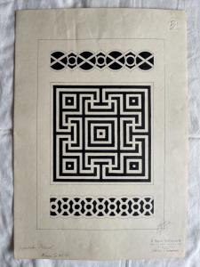 Ink drawing on paper depicting geometric motifs Signed by Mario Leonardi, 1915.