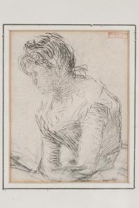 """Medardo Rosso, """"figura feminina"""", lápis sobre papel"""