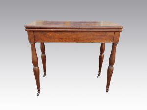 Tavolo da gioco, tavolino Luigi Filippo in piuma di mogano e panno verde