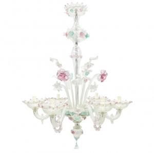 Lampadario in vetro di Murano rosa e verde acqua