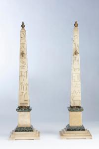 Ancient pair of rare alabaster and serpentine green porphyry obelisks
