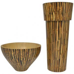 Diseño de jarrón y cuenco en bambú