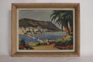 Pintura a óleo sobre tela com paisagem portuária com assinatura, 66x55