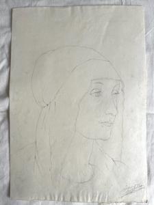 Bleistiftzeichnung auf Papier, Gesicht der Renaissancefrau .Arturo Pietra.Bologna.