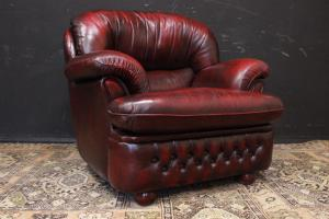 English bergere Chesterfield armchair in burgundy leather