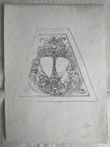 Dibujo a lápiz y tinta sobre papel con boceto de un noble escudo de armas de Arturo Pietra.