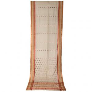Antique ivory and red Indian SARI