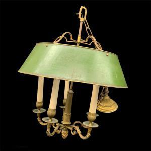 法国布约特吊灯,黄铜五盏灯 - 19 世纪